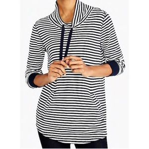 J. Crew Striped Waffle Funnel-neck Sweatshirt